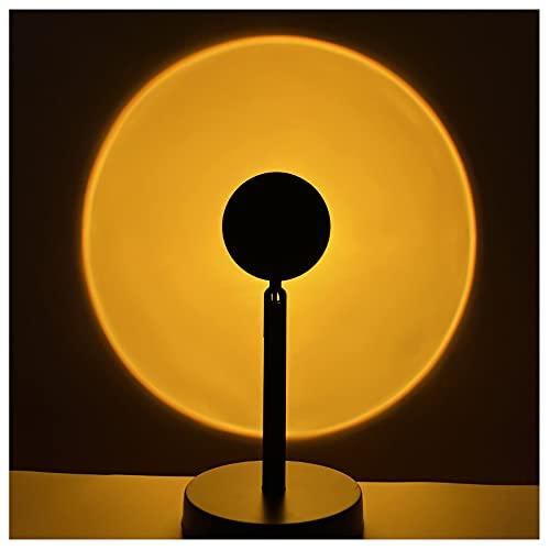 GOLOFEA Lámpara de proyección del Atardecer, lámpara de proyector de la Puesta de Sol Rotación Puesta de Sol Romántico Luz LED Lámpara de Arco Iris Luz de Noche Sun