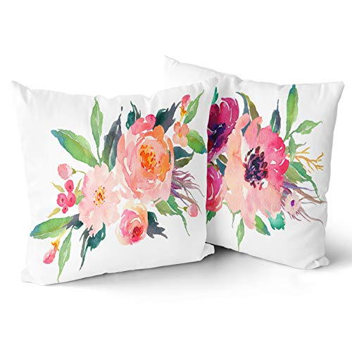 Granbey Set of 2 Throw Pillow Covers Watercolor Floral Pink Flower Decorative Pillow Cases Home Decor Square 18x18Inches Pillowcases