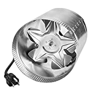 """iPower 4 Inch 100 CFM Booster Fan Inline Duct Vent Blower for HVAC Exhaust and Intake 5.5' Grounded Power Cord, 4"""", Grey"""