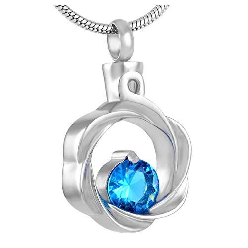 Wxcvz Collar para Cenizas Hermoso Collar De Cremación De Cristal Azul para Mujer, Círculo De La Vida, Cenizas Conmemorativas, Joyería De Recuerdo + Embudo Incluido