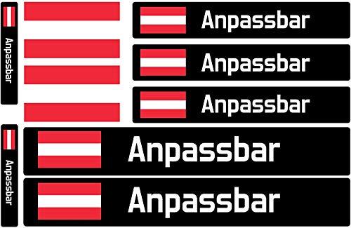 9 Aufkleber Name & Flagge, Benutzerdefinierte Aufkleber mit Flagge, für Fahrräder, Motorräder, Autos und andere Objekte.