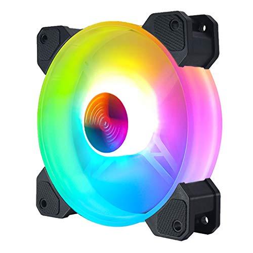 GREEN&RARE Ventilador de refrigeración para ordenador de sobremesa de 12 cm con luces LED que cambian de color RGB Chasis, control remoto