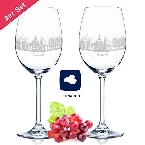 Leonardo Weinglas mit Gravur - Skyline Rostock im Set - Geschenk für Anspruchsvolle & Weingenießer - Souvenir Andenken Stadt Mitbringsel - Geburtstagsgeschenk Weihnachtsgeschenk