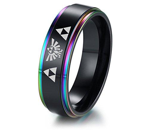 VNOX 6MM Zelda Triforce Legend of Zelda Stainless Steel Colorful Beveled Edge Ring,Gamer Gift,Size 9