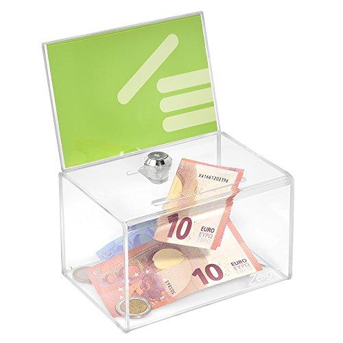 Zeigis® Spendenbox mit Plakateinschub in DIN A6 Quer mit Schloß/Aktionsbox / Losbox/Sammelbox / Acryl/Acrylglas
