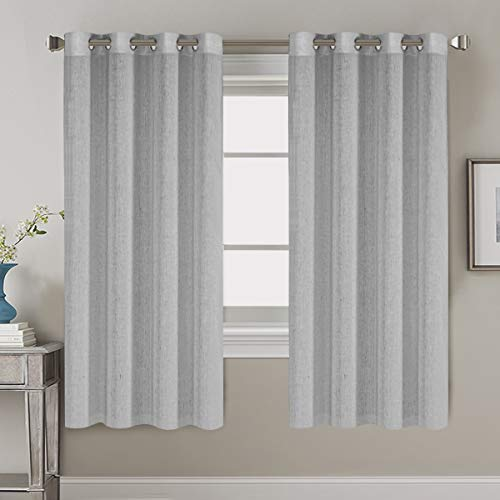 63 inch Linen Curtains for Living Room/Home Decorative Rich Natural Linen Curtains for Bedroom/Laundry - 2 Panels - Elegant Nickel Grommet Top - 52x63 - Inch, Dove