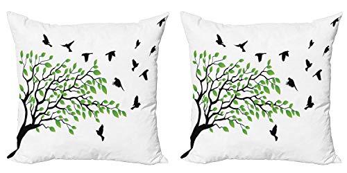 ABAKUHAUS Árbol Set de 2 Fundas para Cojín, Pájaros Que vuelan Primavera Paz, con Estampado en Ambos Lados con Cremallera, 40 cm x 40 cm, Verde Negro Blanco