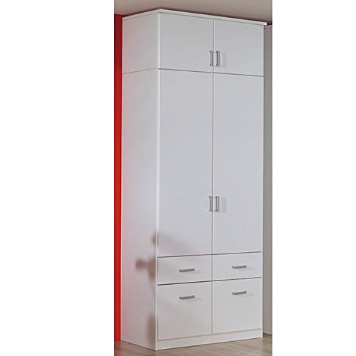 Kleiderschrank Dilan weiß 2 Türen B 91 cm mit Aufsatz Kinderzimmer Jugendzimmer Drehtürenschrank Wäscheschrank