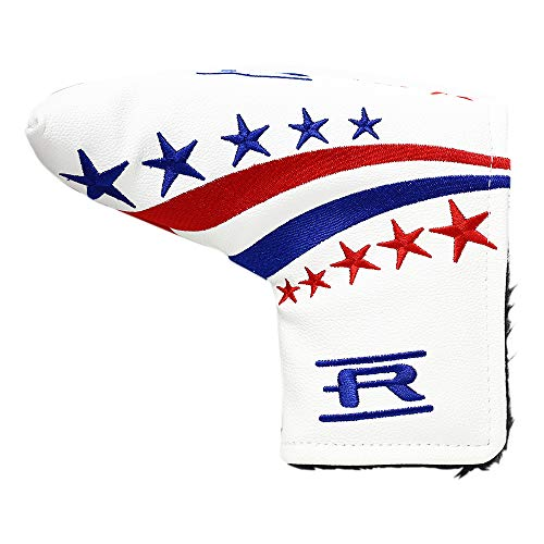 Rife Golf Collectors Edition - Retro L Shape Blade Putter Red White Blue Style Headcover. Limited Edition Tour Vintage Leather Style Custom Design Putter Head Cover