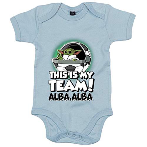 Body bebé parodia baby Yoda mi equipo de fútbol Albacete - Celeste, 12-18 meses