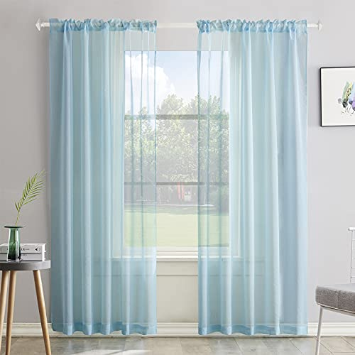 Baby Blue Semi Sheer Curtains 84 Inches Long Faux Linen Baby Blue Sheers Curtain for Bedroom Living Room Girls Kids Room 2 Panels 52x84