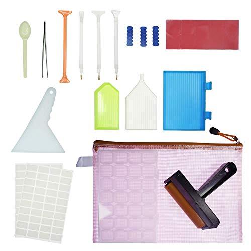 ALOVA 28PCS Kits de herramientas y accesorios para pintar diamantes 5D ideales con rodillo de pintura de diamantes y caja de bordado de diamantes para adultos o niños