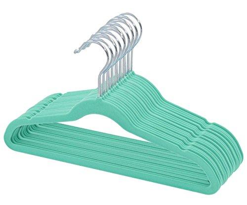 TQVAI Kids Velvet Hangers Non Slip Space Saver - Mint Green - 30 Pack