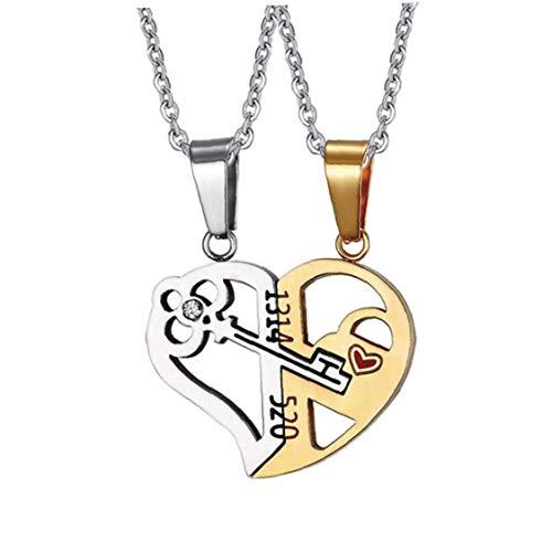 DINEGG Collar de Pareja Colgante Amor corazón Empalme Partido Rompecabezas Gargantilla Cadena para Hombres Mujeres 1 Juego QQQNE (Color : Golden)