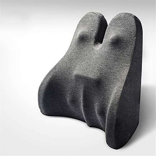 Lumbar Support Pillow, Memory Foam Chair Back, Ergonomically Designed Orthopedic Backrest, Can Relieve Low Back Pain. Suitable for Office Chairs, Computer Chairs, Recliners, Car Seats,Dark gray