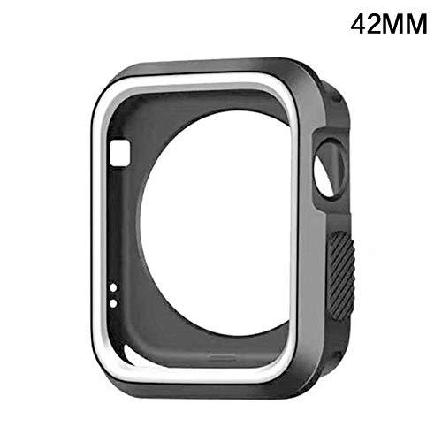 OUYAWEI voor Apple Watch iWatch Serie 1 2 3 siliconen beschermhoes scherm 38&42mm 42mm Zwart en Wit
