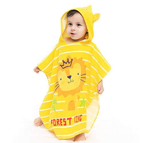 PEIPONG 100% Baumwolle Kinder Kapuzenhandtuch Badetuch Strandtuch Bademantel Junge Mädchen (Löwe, 120 cm × 60 cm)