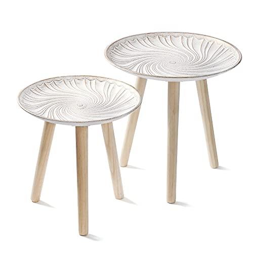 QILICZ Juego de 2 mesas auxiliares redondas, mesa de café retro, 40 cm de diámetro y 34 cm de diámetro, 2 mesillas de noche de madera, color blanco, mesita de noche con diseño dorado, para salón