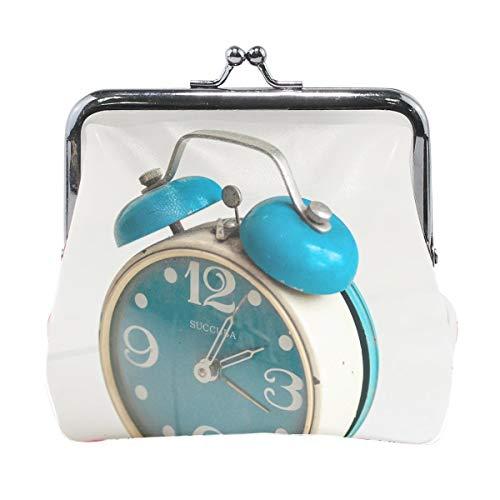 Frauen Wecker Uhr Vintage Print Brieftasche Exquisite Verschluss Münze Geldbörse Mädchen Clutch Handtasche