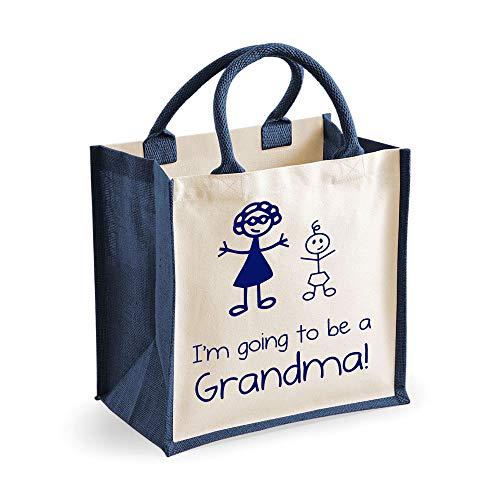 Medium Sac de jute I'm Going To Be A mamie Bleu marine Sac fête des mères Nouvelle Maman anniversaire Cadeau de Noël