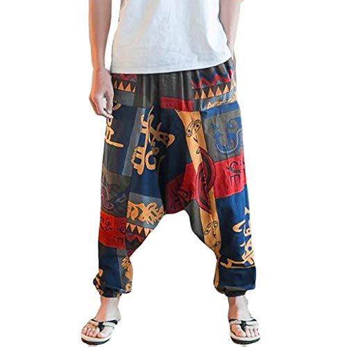 SHOBDW Pantalones Mujer Hombres Unisex Lindo Suelto Talla Grande Impresión Vintage Gota Entrepierna Floral Yoga Joggers Aladdin Boho Harem Moda Entrenamiento Pantalones Capri