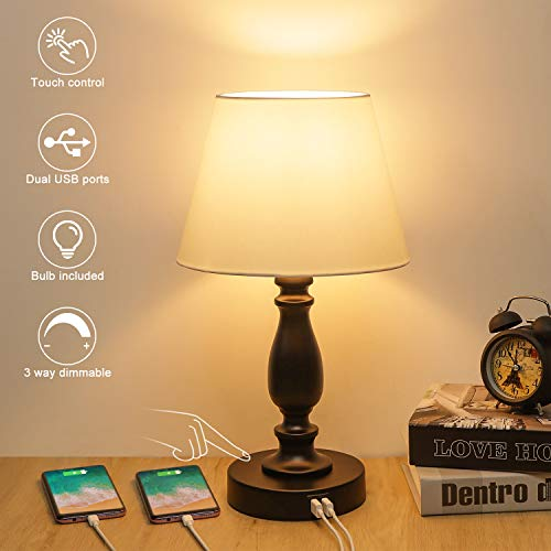 Touch Control Table Lamp, 3 Way Dimmable Bedside Touch lamp with Dual USB Ports, White Cloth Lampshade Modern Desk Lamp USB Nightstand Accent Lamp for Bedroom Living Room, 6W 2700K LED Bulb Included