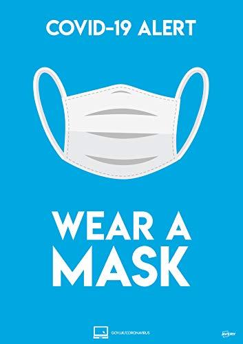 Avery COVID-19 Wear a Mask - Cartello A4 297 mm x 210 mm, 2 poster autoadesivi per confezione
