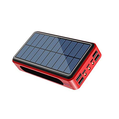 Cargador Solar Power Bank Portátil 50,000Mah con 4 Output Ports 5V/2.1A Inalámbrico QI Solar Batería Externa, Rapida De Gran Capacidad con Entrada USB C para Smartphones Tabletas,Rojo