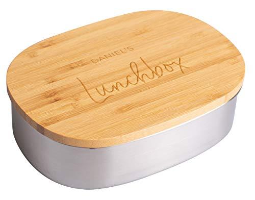 LAUBLUST Brotdose Personalisiert - Wunschgravur - Edelstahl Lunchbox mit Bambusdeckel - Geschenk Erwachsene & Kinder
