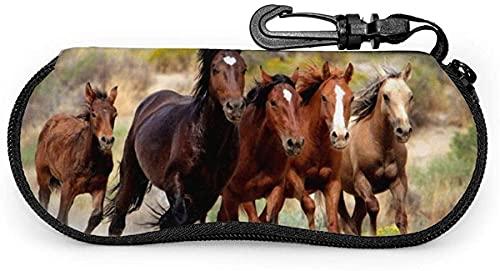 MODORSAN Wild Horses-Wild Horses Mujer Hombre Estuche para gafas con mosquetón