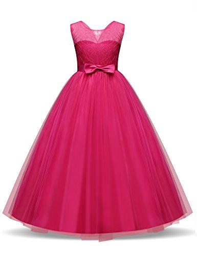 NNJXD flickor barn spets tyll bröllopsklänning prinsessa kläder första kommunion klänning