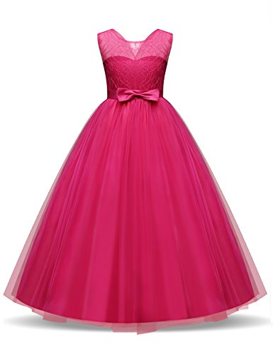 TTYAOVO Girls Pageant Ball Gowns Kids Chiffon Embroidered Wedding Party Dress Size 12-13 Years Rose