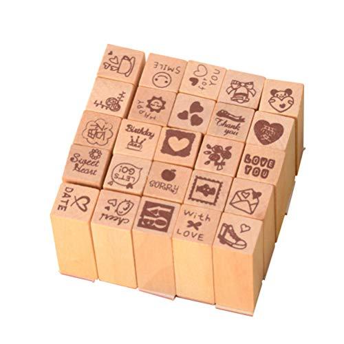Exceart 1 pc Holz Briefmarken Mini Siegel Stempel Scrapbooking Stempel für Kindergärtnerinnen Handwerk Karte Tagebuch Dekoration
