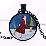 2017 nuevo patín de Santa Colgante de Navidad de la joyería de Santa Claus collar plata negro bronce cadena cristal cúpula colgantes regalo Gril