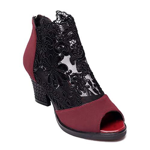 Damen High Heels Sandaletten Sommer Sandalen Absatzschuhe Sexy Mesh Blockabsatz Sandalen Peep Toe Schuhe Für Party Hochzeit Reisen Rotwein 42 EU