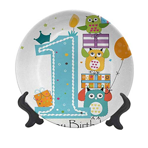 SfeatrutMAT 10' 1st Birthday Ceramic Plate,First Cake with Candle Owls Family with Box Party Theme Print Creative Decorative Plate for Party Kitchen Sky Blue Orange and Green