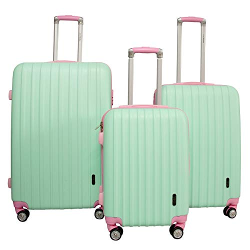 Set Maleta Viaje Rigidas Resistente Kit Colores Modelos Varios (Rayas Verticales, Turquesa)