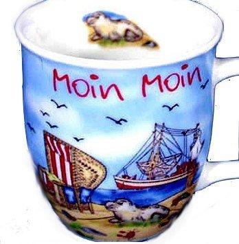 Porzellan- Mini- Tasse, Kaffeepott, Schnapspöttchen, Espresso- Moin Moin maritim- deutsches Produktdesign
