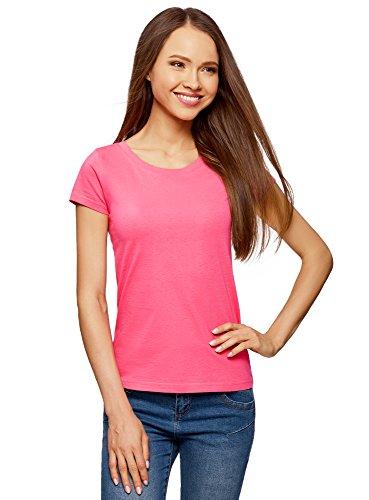 oodji Ultra Mujer Camiseta Básica de Algodón, Rosa, ES 38 / S