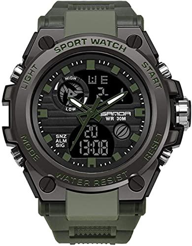 ZFAYFMA Reloj digital para hombre, deportivo, cuarzo luminoso, impermeable, multifunción, correa de resina, movimiento japonés, ajustable, verde