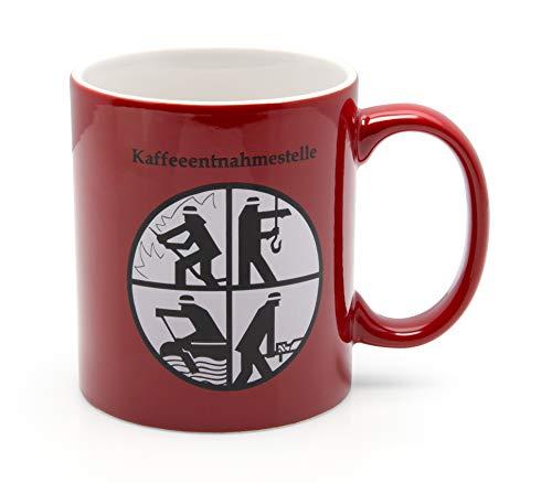 DFV Feuerwehr Becher rot Porzellanbecher Kaffeeentnahmestelle Feuerwehr Signet