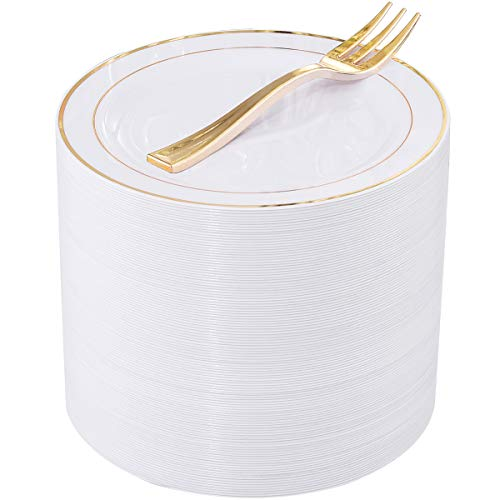 120 PCS Gold Plastic Dessert Plates with 120 PCS Gold Forks, 6.5 inch Disposable Salad Plates, Premium Gold Appetizer Plates Perfect for Parties or Weddings