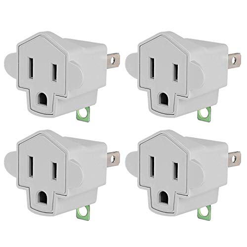 3-2 Prong Adapters Grounding Adapter JACKYLED 3-Prong to 2-Prong Adapter Converter ETL Listed Fireproof Material 200℃ Resistant Heavy Duty Wall Outlets Plugs for Household Appliances Industrial, 4 Pack