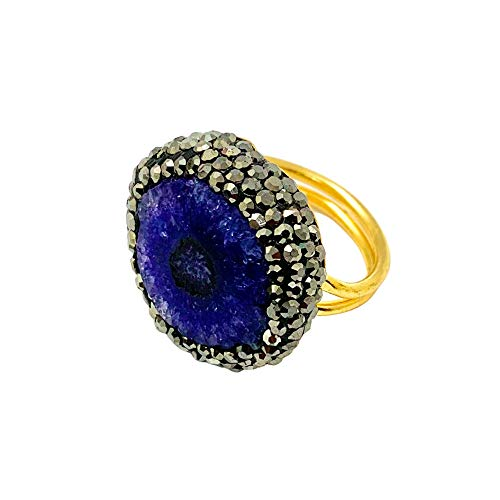 [NEW] Adjustable Crystal Springled Raw Agate Gemstone Ring, Statement Jewelry for Stylish Women, Gold Plated Geode Succulent Jewelry (Deep Purple)