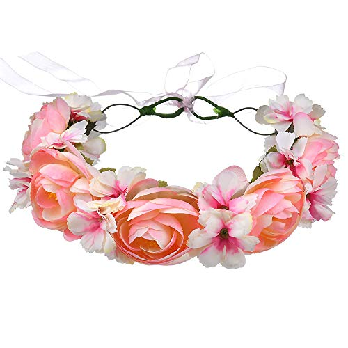 HUIO Coiffe pour Le Festival De Mariage Fête Vacances Dame Fille Fleur Couronne Bandeau Rose Mariée Ou Couronne De Cheveux De Bridemaid pour Femme (Color : Pink)