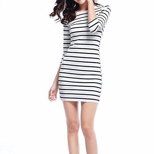 Soatrld Women's 3/4 Sleeve White Black Striped Mini Bodycon Dress Wear to Work Casual Party Pencil Dresses (XL, White)