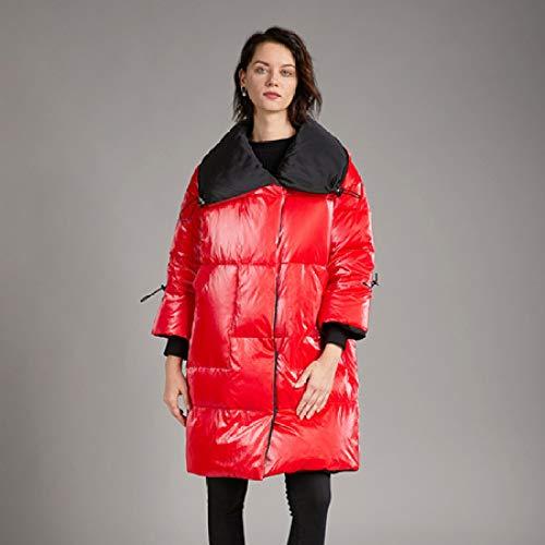 YUFUFU - Abrigo de plumas para mujer, talla grande, manga larga, cuello descubierto, cálido, 5XL,...