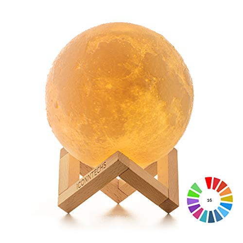 Lampara Luna 3D, ICONNTECHS Brillo Regulable 16 Colores RGB Recargable USB Control remoto y Control tactil LED Lunar Luz Nocturna Decorativa para Dormitorio, Salon, Regalo para Mujeres y Ninos 15cm, L