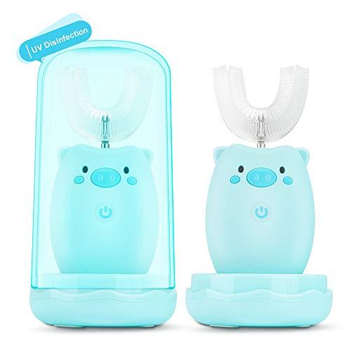 Kinder U-Typ Zahnbürste,KKUYI Elektrische Zahnbürste für Baby Kinder 2-6 Jahre Alt Schallzahnbürste mit Becher 3 Modi 45s Timer für automatische Zahnreinigung Wiederaufladbar mit Memoryfunktion