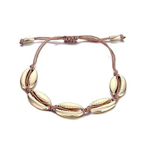 Bracelet Retro Shell Rope Chain Bracelet Female Beach Sea Shell Bracelet Anklet Jewelry Party Gift jewelry (Color : ZL0000165 1)